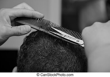 Men's, haircut, barber, scissors