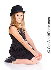 Girl in bowler hat - Beautiful girl wearing black dress and...