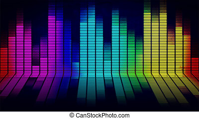 Music equalizer - Graphics of music equalizer on black...