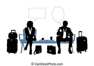 businessman and businesswoman speaking in the airport lounge...