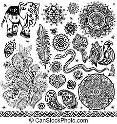 vendimia,  tribal, Conjunto, étnico, patrón