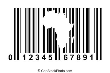 Africa Bar code - Africa shopping bar code isolated on white...