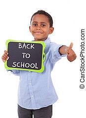 africano, americano, escola, Menino, segurando, em branco,...