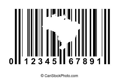 Brazil bar code - Brazil shopping bar code isolated on white...