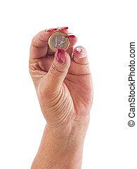 hand, munt, Vasthouden, eurobiljet, een