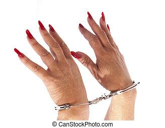 handcuffs,  hand, Van een vrouw