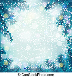 Christmas retro background with tree branches and snowflakes...