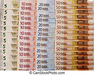 many euro banknotes as a background