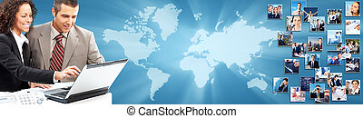 Business collage background. Business people group banner.