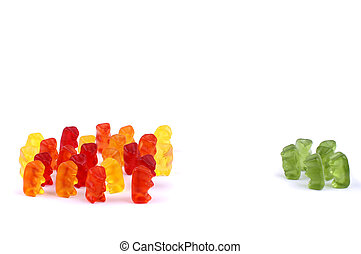 Exclusion - Different coloured gummi bears demonstrating...