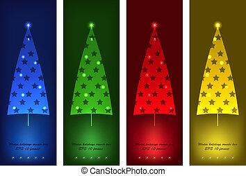Winter holidays tree set.