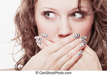 surprised woman face, girl covering her mouth over white -...