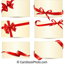 Set of beautiful gift cards with red gift bows with ribbons...