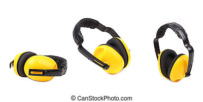 Set of yellow protective ear muffs. Isolated on a white...