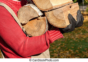 Work on farm - farm worker holding the firewood - Farm...