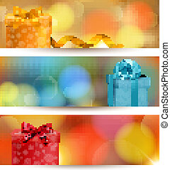 Retro holiday background with blue gift ribbon with gift boxes. Vector
