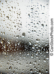 Rain drops on a window - Rain drops on a window glass, with...
