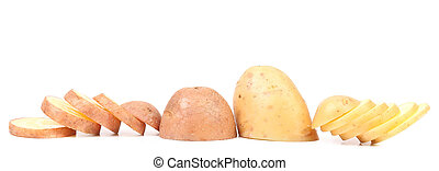 Different potato slices Isolated on a white background