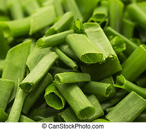 finely chopped green onions as a backdrop macro