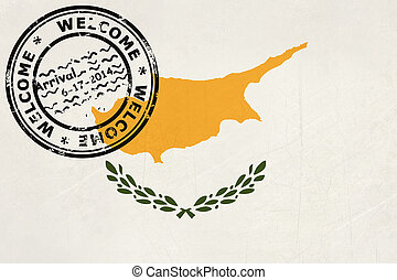 Welcome to Cyprus flag with passport stamp