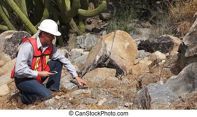 Geologist Man Data Collection