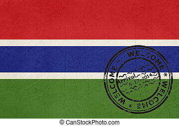 Welcome to Gambia flag with passport stamp