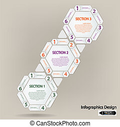clean hexagon presentation template for your text. Vector...