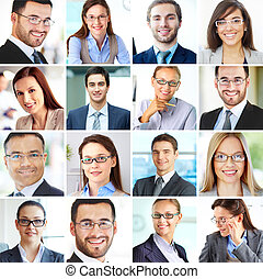 Businesspeople - Collage of confident employees looking at...