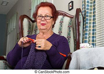 Senior Lady Crocheting