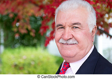 White Hair Senior Businessman in Fall - White hair senior...