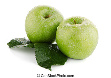 Two fresh green apples on white background