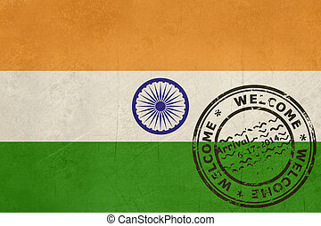 Welcome to India flag with passport stamp