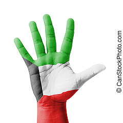 Open hand raised, multi purpose concept, Kuwait flag painted...