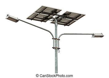 solar powered street light over white background