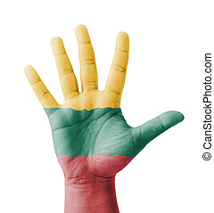 Open hand raised, multi purpose concept, Lithuania flag...