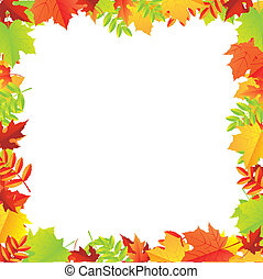 Colorful Autumn Leafs Frame, Vector Illustration