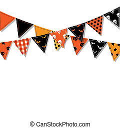 Halloween Bunting Flags, Vector Illustration