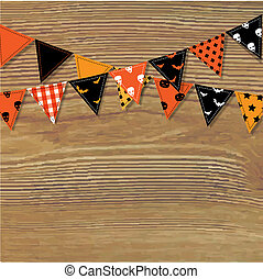 Halloween Bunting Flags With Wood Background