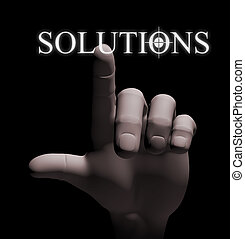 3d finger touching solution illustration