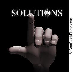 3d finger touching solution illustration