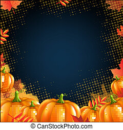 Orange Autumn Pumpkins Frame, With Gradient Mesh, Vector...