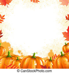 Orange Pumpkins Frame, With Gradient Mesh, Vector...