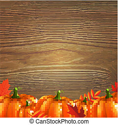 Red Autumn Leafs And Pumpkins Frame, With Gradient Mesh,...