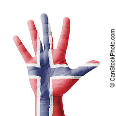 Open hand raised, multi purpose concept, Norway flag painted...
