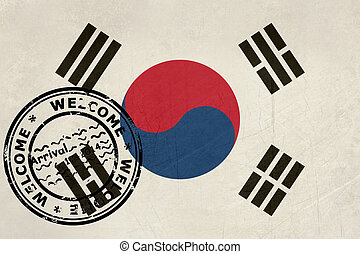 Welcome to South Korea flag with passport stamp