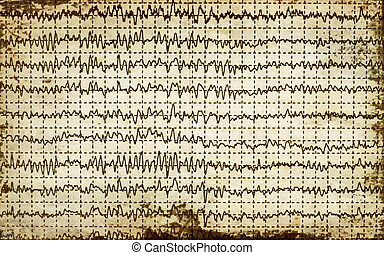 concept old graph brain wave EEG with paper background