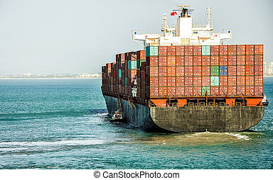 Container ship - Container cargo ship with pilot, is leaving...