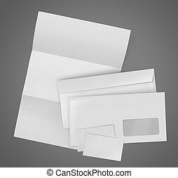 business stationary set. envelope, sheet of paper and...