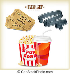 Cinema Set, With Gradient Mesh, Vector Illustration