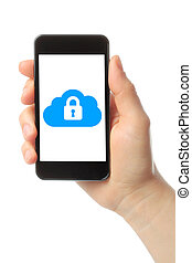 Hand holds smart phone with cloud security concept